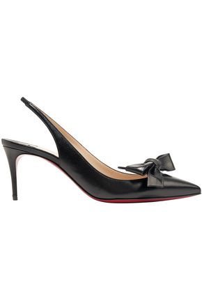 CHRISTIAN LOUBOUTIN Bow-embellished leather slingback pumps