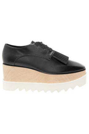 STELLA McCARTNEY Fringe-trimmed faux leather platform brogues