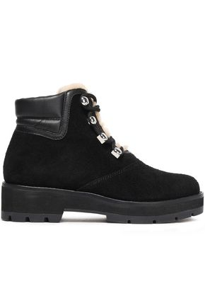 3.1 PHILLIP LIM Lace-up leather-trimmed shearling ankle boots