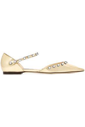 JIMMY CHOO Leema faux pearl-embellished mirrored-leather point-toe flats