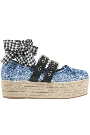 MIU MIU Leather-trimmed glittered canvas platform espadrilles
