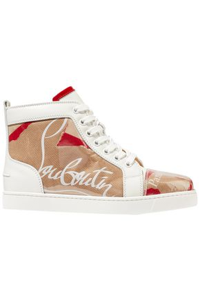 CHRISTIAN LOUBOUTIN Louis leather and logo-print PVC sneakers