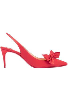 CHRISTIAN LOUBOUTIN Bow-embellished satin slingback pumps