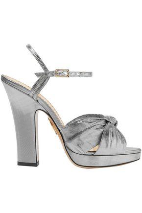 CHARLOTTE OLYMPIA Farrah knotted lamé platform sandals