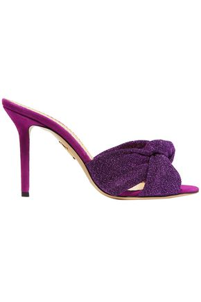 CHARLOTTE OLYMPIA Knotted textured-lamé mules