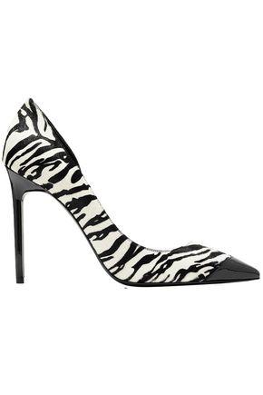 SAINT LAURENT Anja patent-leather and zebra-print calf hair pumps