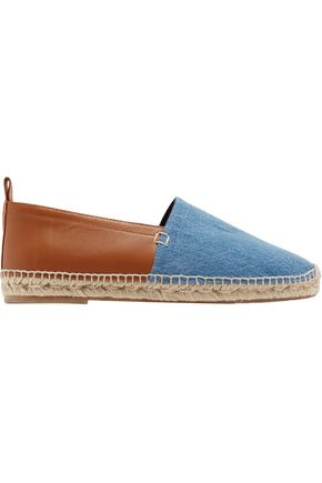 LOEWE Paneled leather and denim espadrilles