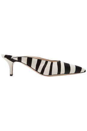 GIANVITO ROSSI Zebra-print calf hair mules