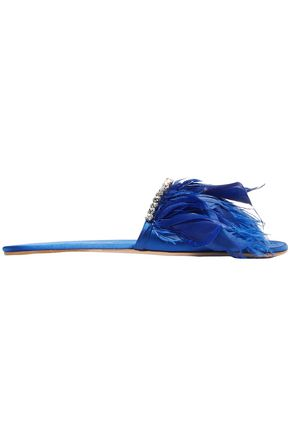 MIU MIU Feather-trimmed satin slides