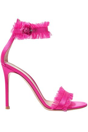 GIANVITO ROSSI Fringed silk-satin sandals