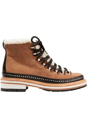 RAG & BONE Shearling-trimmed studded suede ankle boots