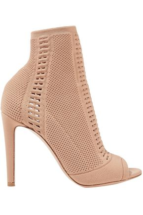 GIANVITO ROSSI 105 peep-toe perforated stretch-knit ankle boots