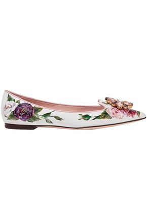 DOLCE & GABBANA Embellished floral-print patent-leather point-toe flats