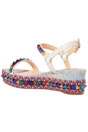 CHRISTIAN LOUBOUTIN Pyraclou 60 spiked metallic textured-leather wedge sandals