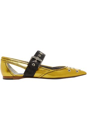 BOTTEGA VENETA Embellished cutout metallic leather point-toe flats
