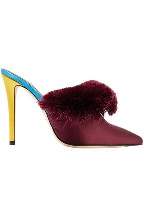MARCO DE VINCENZO حذاء ميول من الساتان متباين الألوان ومزين بأشرطة