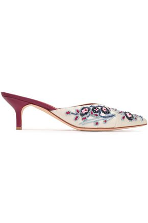 MALONE SOULIERS Portia bead-embellished embroidered satin mules