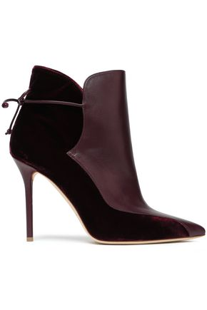 MALONE SOULIERS Leather and velvet ankle boots