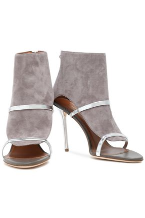 MALONE SOULIERS Miley 100 cutout metallic leather-trimmed suede sandals