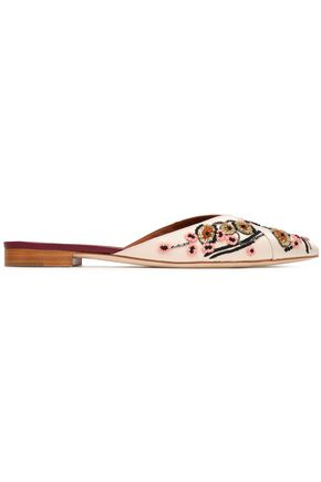MALONE SOULIERS Portia bead-embellished embroidered satin slippers