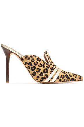 MALONE SOULIERS Metallic leather-trimmed leopard-print calf hair mules