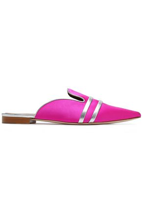 MALONE SOULIERS Metallic leather-trimmed satin slippers