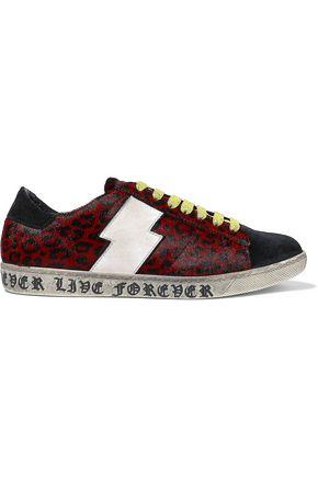 AMIRI Viper leather-appliquéd leopard-print calf hair sneakers
