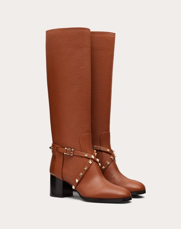 Rockstud Grainy Calfskin Leather Boot 60 mm