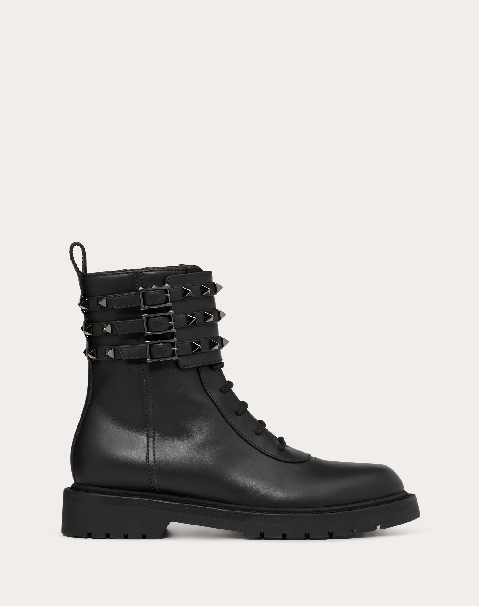 Rockstud Calfskin Leather Combat Boot 20 mm