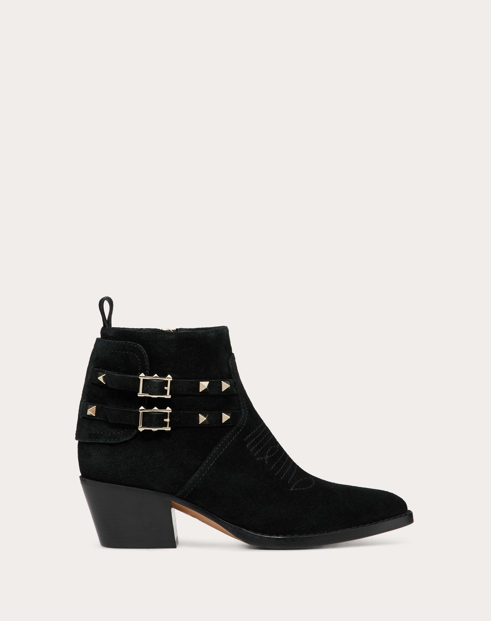 Rockstud Split Leather Cowboy Ankle Boot 50 mm