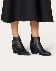 Rockstud Calfskin Leather Cowboy Ankle Boot 50 mm