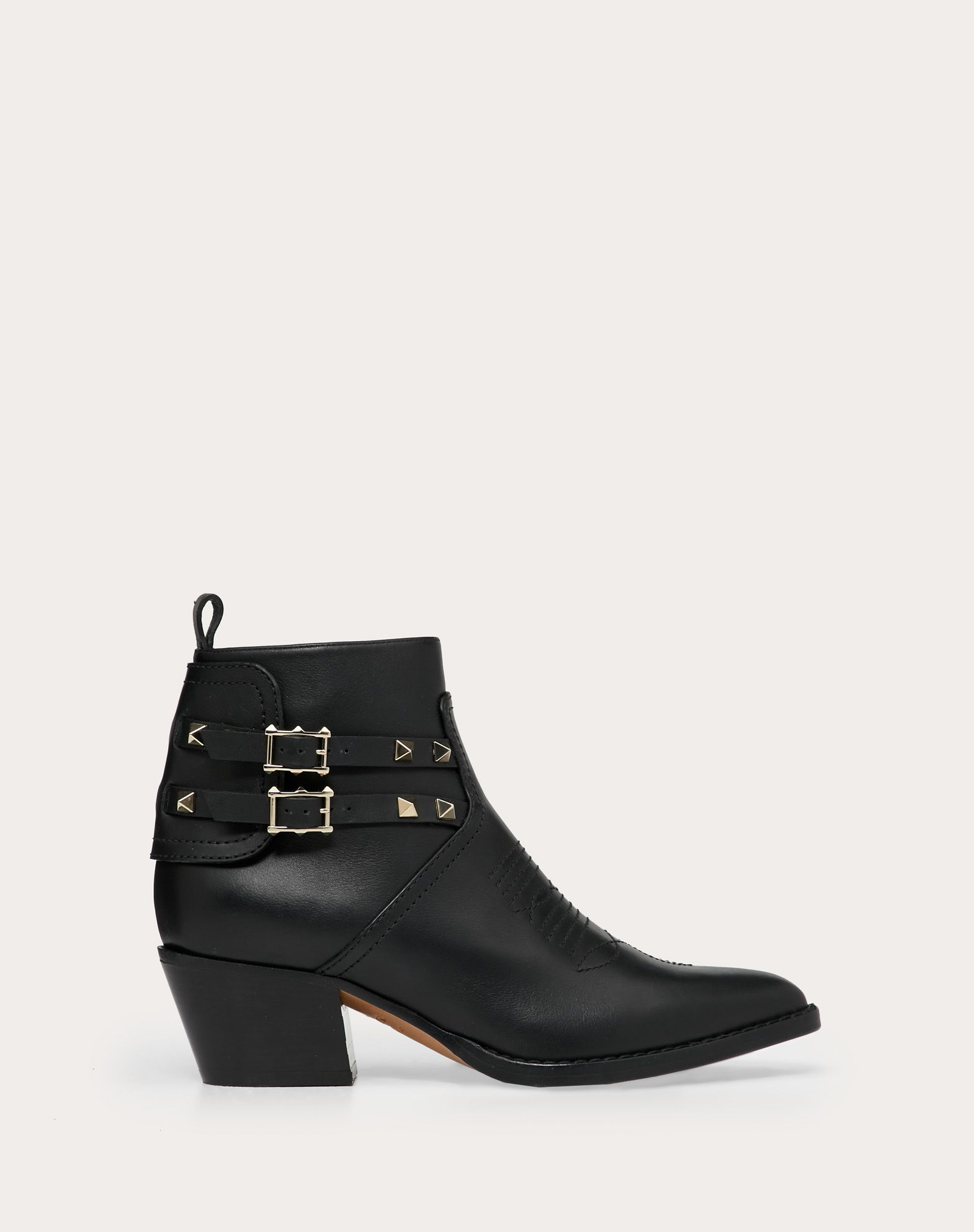 Rockstud Calfskin Leather Cowboy Ankle Boot 50 mm