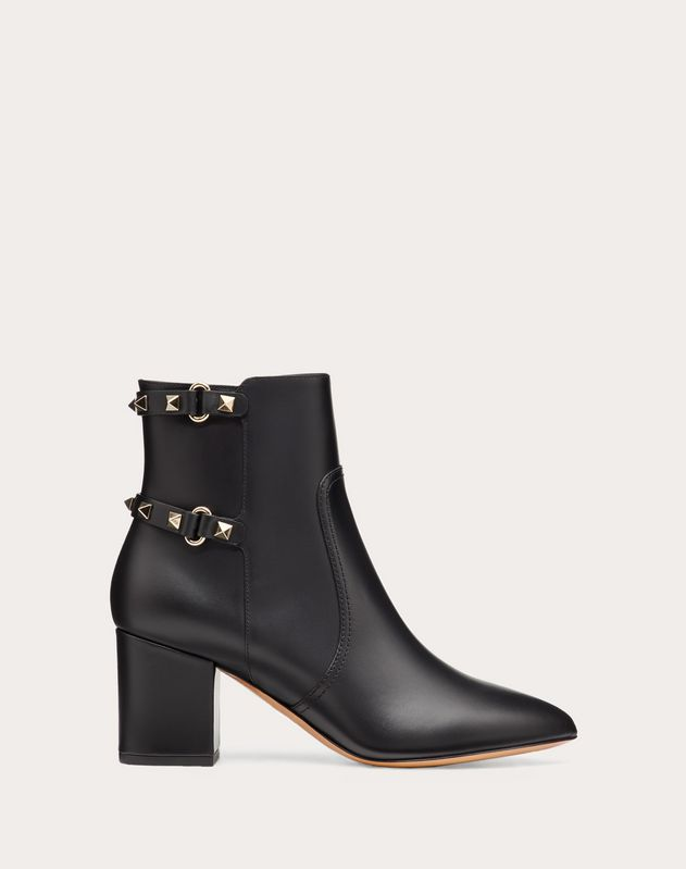 Rockstud Calfskin Leather Ankle Boot 70 mm