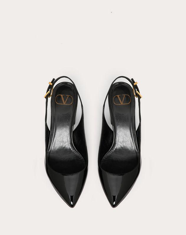 Zapatos de salón destalonados de charol con tacón de 70 mm