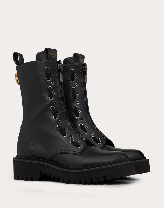 Calfskin Leather Combat Boot with Loop Detail 15 mm