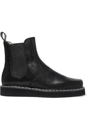 JIL SANDER NAVY Leather platform ankle boots