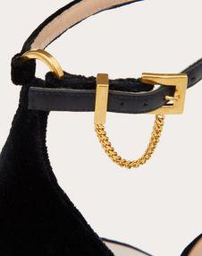 Velvet Sandal with Chain Detail 100 mm