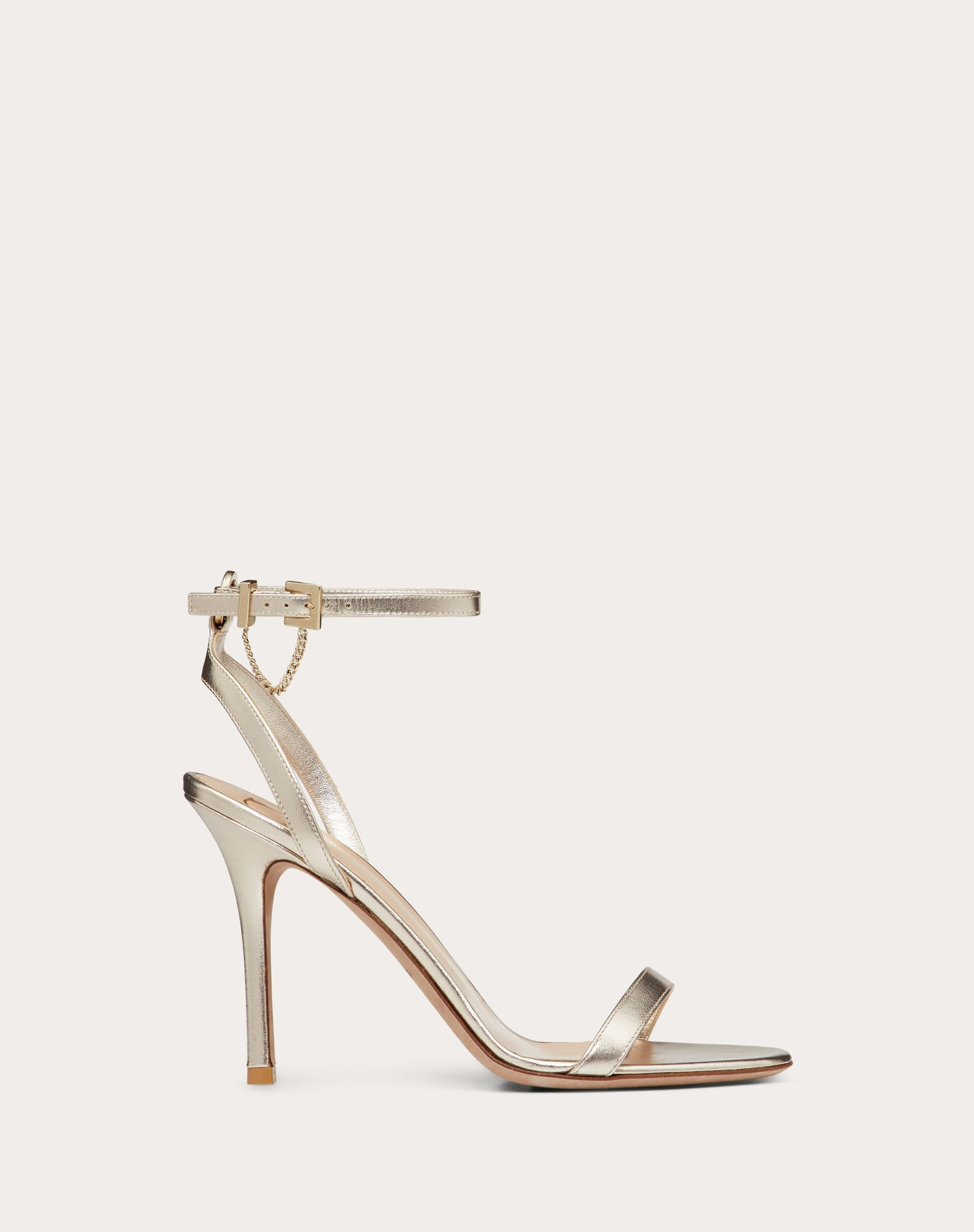 Patent Nappa Leather Sandal with Chain Detail 100 mm