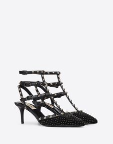 Rockstud Embroidered Fabric Pump 65 mm