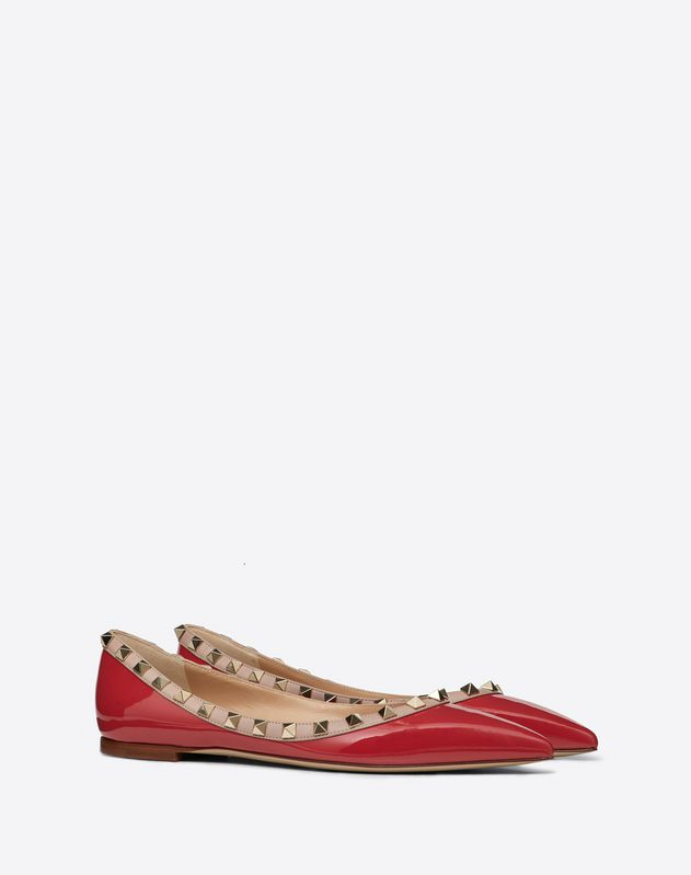 Rockstud Patent Leather Ballet Flat