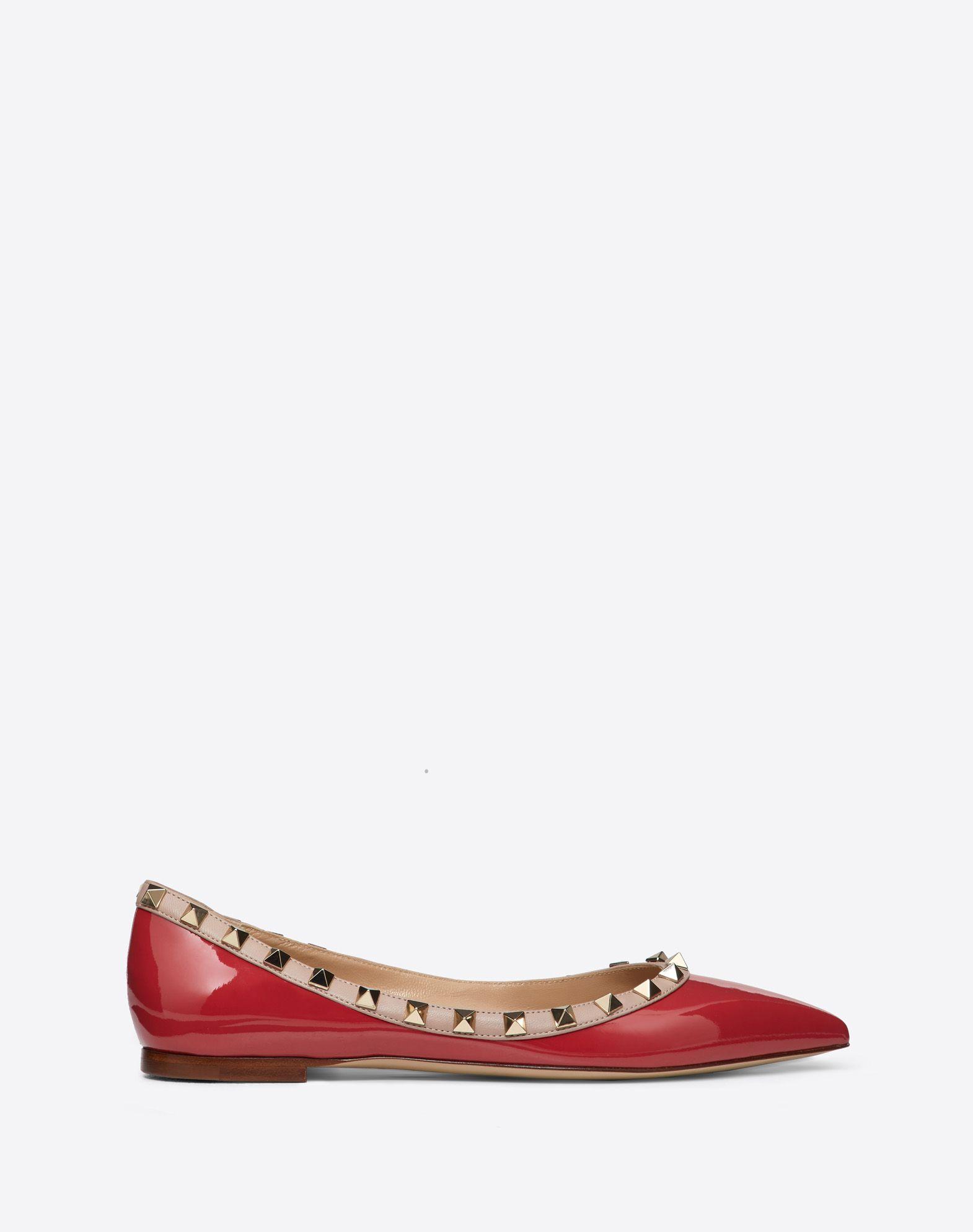 Rockstud Patent Leather Ballet Flat