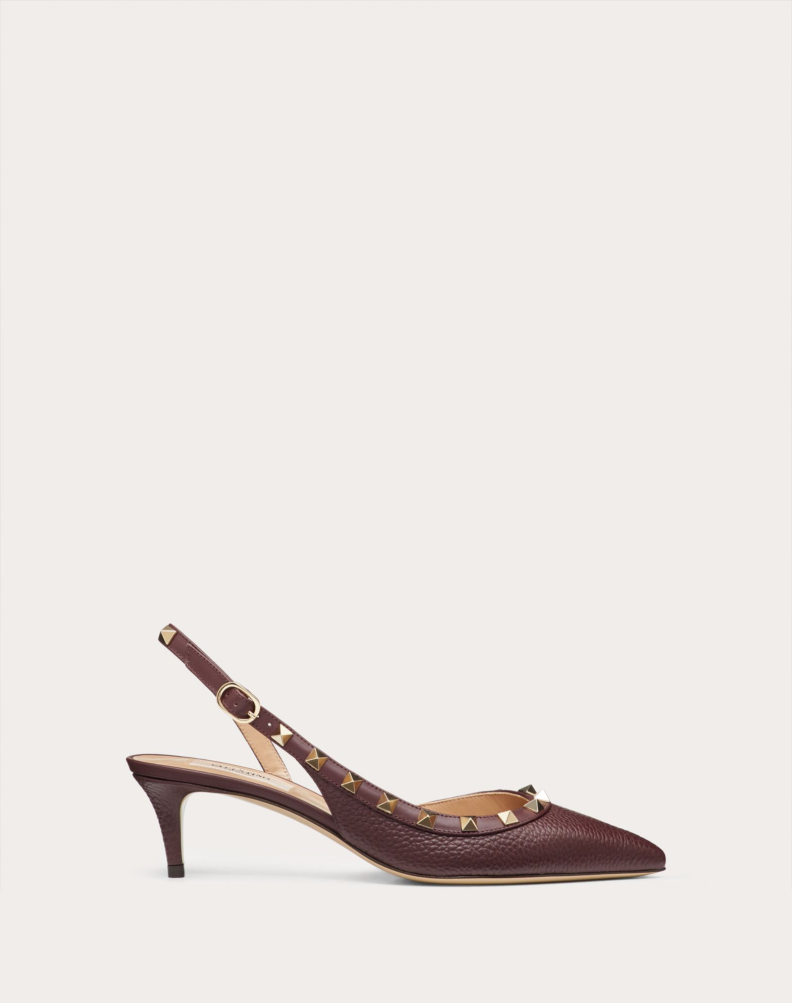 Rockstud Grainy Calfskin Leather Slingback Pump 50 mm