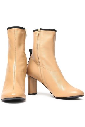 Joseph Woman Grosgrain-trimmed Leather Ankle Boots Sand