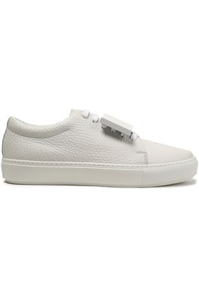 ACNE STUDIOS Embellished textured-leather sneakers