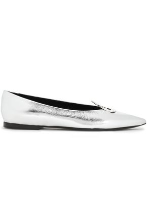 PROENZA SCHOULER Embellished metallic leather point-toe flats