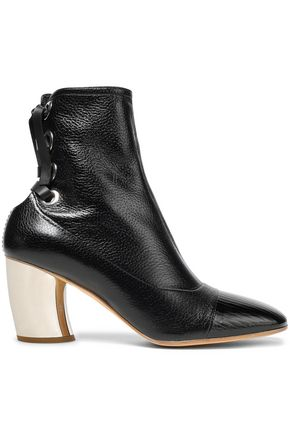 PROENZA SCHOULER Lace-up patent and textured-leather ankle boots