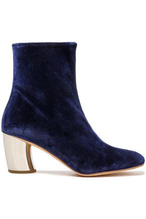 PROENZA SCHOULER Leather-trimmed velvet ankle boots