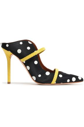 MALONE SOULIERS x EMANUEL UNGARO Maureen 100 polka-dot leather-trimmed faille mules