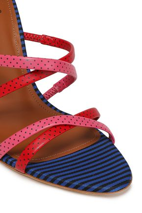 MALONE SOULIERS + Emanuel Ungaro Cindy 100 polka-dot leather and striped woven sandals