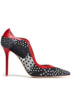 MALONE SOULIERS x EMANUEL UNGARO Leather-trimmed polka-dot twill pumps